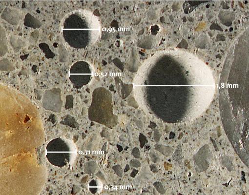 beton aufgeschnittener probekoerper